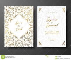 Save The Date Cards Templates Wedding Vintage Invitation Save The Date Card With Golden Twigs And