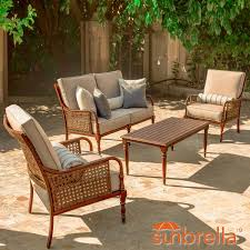 Aluminum patio furniture Oxidized Arabella Piece Aluminum Patio Conversation Set W Loveseat Club Chairs Sunbrella Cast Ash Cushions By Lakeview Outdoor Designs Bbq Guys Bbq Guys Arabella Piece Aluminum Patio Conversation Set W Loveseat Club