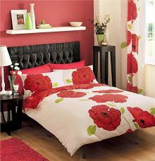big red flowers double size quilt cover duvet set matching curtains 66 x 72 23 99