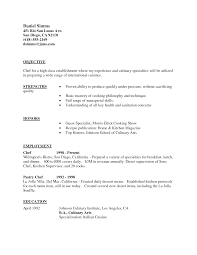 Chef Resume Objective Resume For Your Job Application