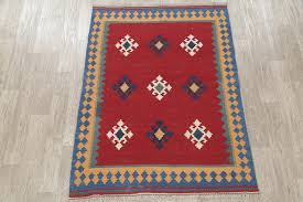 red oriental kilim wool flat woven affordable persian style area rug 5 9 x4 3 southwestern area rugs by rugsource inc