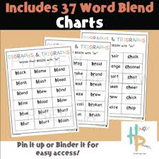 Beginning Digraph Trigraph Blends With Words And Word Blend Charts