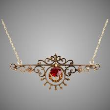 antique victorian 14k rose gold pendant necklace delicate central ccfinds ruby lane