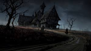 Dark haunted horror gothic house storm rain art wallpaper   1924x1086 .