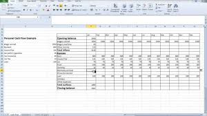 Creating A Cash Flow Statement Spreadsheet Personal Cash Flow For Students Youtube