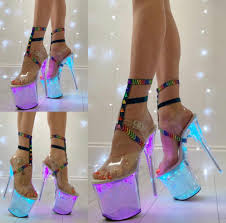 Light Up Pleaser Shoes Pleaser Flashdance 808ch Clear Hologram Light Up Pole Shoes