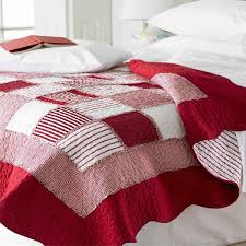 sashi bed linen orleans gingham stripe patchwork 100 cotton cushion cover red white 40 x 40 cm linens limited