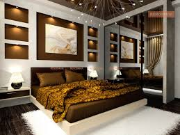 wall niche lighting. Interior Of The Comfortable Bedroom In Brown Color Wall Niche Lighting