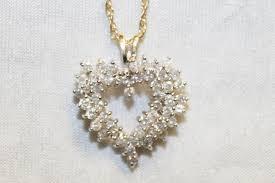 yellow gold diamond heart necklace