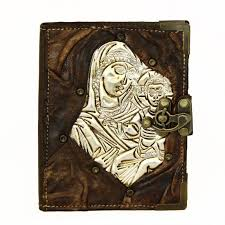 new virgen engraved on metal refillable leather journal