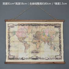 large retro world map linen cloth painting scrolls poster mural paintings banners hanging art office loft