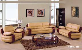 Modern Living Room Set 1876 2 Pcs Tan Leather Living Room Set Sofa And Loveseat By