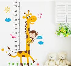 Bibitime Animal Monkey Giraffe Height Chart Decal For Kids Room Decor Nursery Growth Charts Wall Sticker Minimum Scale 70 Cm