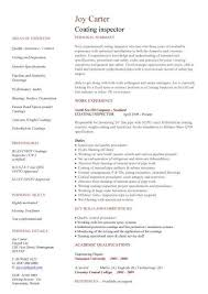 example of a written cv application coating inspector cv sample engineering jobs painting