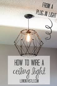 how to wire a ceiling light fixture from a plug in light