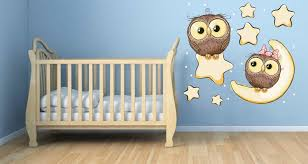 baby owl decals nursery decal moon