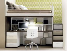 smallkids-bedroom-with-metal-loft-bed-and-storage-under-stairs-and ...