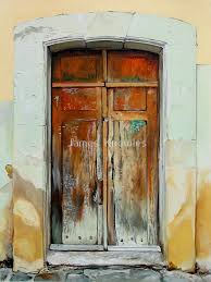 puerta cafe oil painting of an old mexican door by james knowles