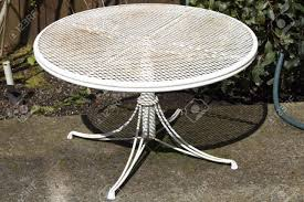white iron patio furniture. Collection In White Patio Table Small Round Metal Painted Aged With Dirt And Furniture Decorating Concept Iron D