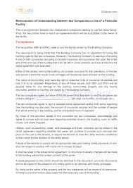 preview pdf memorandum of understanding between two companies on preview able memorandum of understanding between two companies on use of a particular facility in
