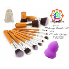 high quality makeup brush set 11 pieces set bamboo make up brush set with pouch