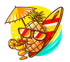 pineapple with sunglasses clipart. vector illustration of colorful yellow hipster pineapple with sunglasses, surfboard and cocktail on sunny sea sunglasses clipart