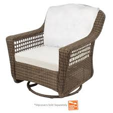 hampton bay spring haven grey wicker outdoor patio swivel rocker chair with cushions included choose