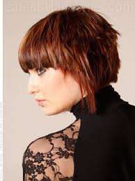 heavy bang short hairstyle for thick hair side view