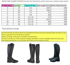 Calf Size Chart Size Chart For Fuller Fillies Dress Boots And Field Boots