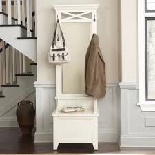 furniture with storage space. Bench Enthralling White Wooden Small Entry With Storage Space And Tall Framed Mirror Entrance Foyer Furniture