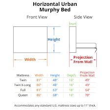 standard bed sizes chart. Horizontal Urban Murphy Bed Dimensions Standard Sizes Chart R