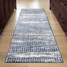 alba abstract blue grey super soft modern rug runner 80x400cm free delivery