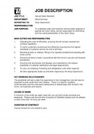 Sales Job Description Template Retail Assistant Image Resume
