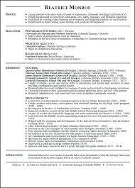 Resume Samples For Teaching Instructor Format Teacher Curriculum