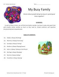 Comprehension Worksheet - My Busy Family Collection