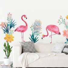 creative flamingo wall stickers bedroom