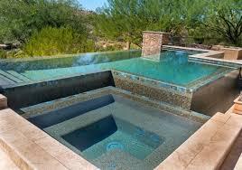 infinity pool backyard. Infinity Pool Running Into Hot Tub Backyard