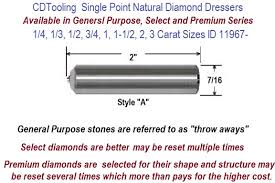Dresser Size Chart Single Point Natural Diamond Dressers Available In 1 4 1 3 1 2 3 4 1 1 1 2 2 3 Carat Sizes Id 11967