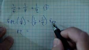 solve the formula for the specified variable 1 f 1 p 1 q f or 1 f 1 p 1 q