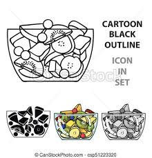 fruit salad clipart black and white.  And Fruit Salad Icon In Cartoon Style Isolated On White Background Sport And  Fitness Symbol Stock To Clipart Black G