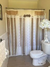 72 shabby rustic chic burlap shower curtain lace ruffles flower french country
