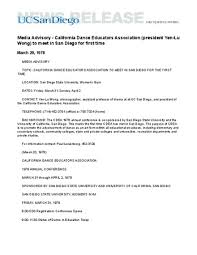 Media Advisory Media Advisory California Dance Educators Association President