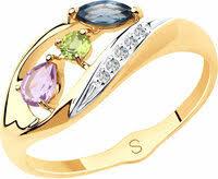 «Золотое <b>кольцо</b> SOKOLOV 715626_s с <b>хризолитом</b>, <b>топазом</b> ...
