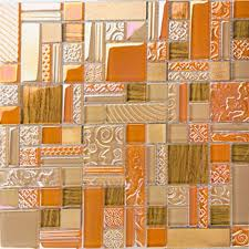 deluxe glass metal mosaic sheets brushed aluminum backsplash yellow and orange decorative crystal glass tile for
