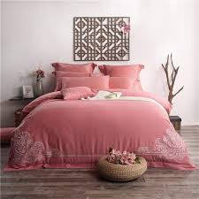 100 cotton boho style 4 bedding set red bed sheets embroidered duvet cover queen bedsheet king cotton bed linen comforter sets king size comforter