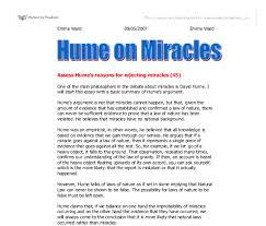 assess hume s reasons for rejecting miracles gcse religious  document image preview
