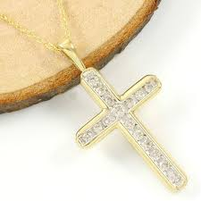 14k yellow gold 0 35 ct i j si2 diamond cross necklace pendant no reserve