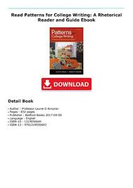 Patterns For College Writing Pdf Inspiration Read Patterns For College Writing A Rhetorical Reader And Guide
