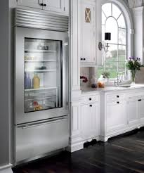 view in gallery stylish glass door refrigerator for a kitchen in neutral tones