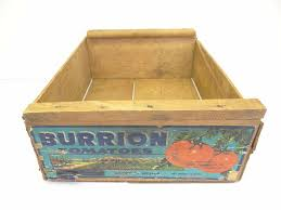 details about vintage wood wooden burrion tomatoes mexico advertising box fruit crate
